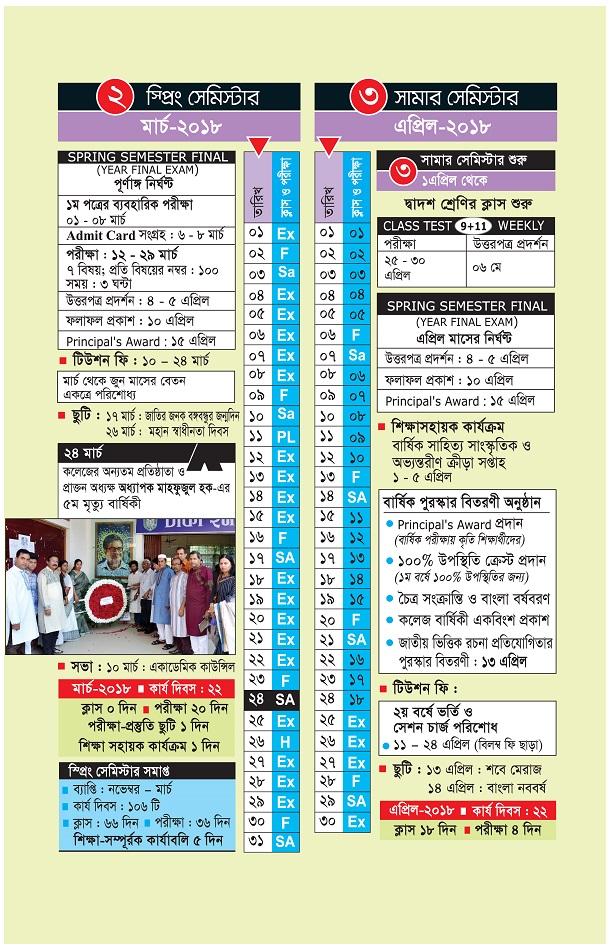 Academic Calendar Dhaka Imperial College